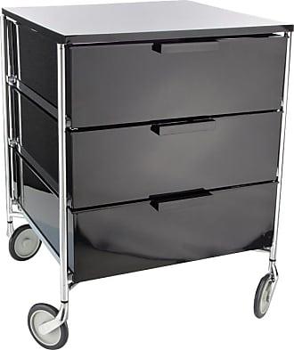 Kartell Mobil 3 Container mit Rollen - rauch/glänzend, durchgefärbt/BxHxT 49x63x47.5cm/Gestell Stahlrohr vechromt