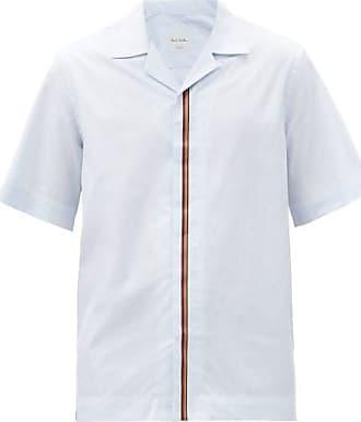 Paul Smith Artist-stripe Cotton-poplin Short-sleeved Shirt - Mens - Light Blue