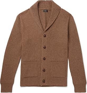 J.crew Slim-fit Shawl-collar Ribbed Merino Wool-blend Cardigan - Brown