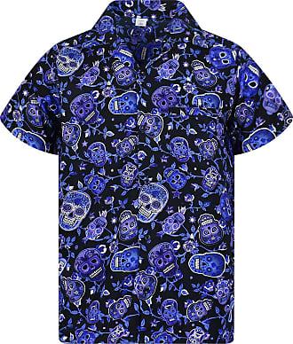 V.H.O. Funky Hawaiian Shirt, Shortsleeve, Skull, Blue, 4XL