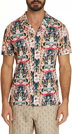 Robert Graham Mens Flamingo Camp Knit Short Sleeve Shirt Size: 2XL by Robert Graham