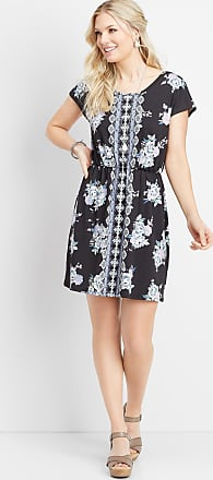 Maurices Border Print Lattice Back Dress