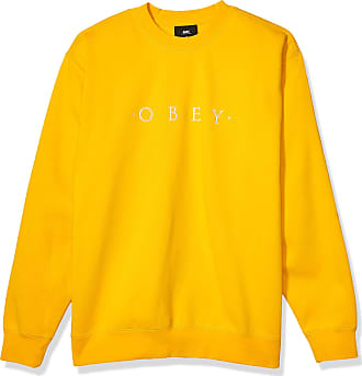 Obey Mens Nouvelle Ii Crew Pullover Sweater, Gold, Medium