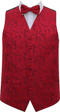 DQT Mens Passion Floral Wedding Waistcoat Bow Tie & Hanky (42, Burgundy)