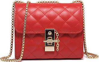 Generic Leather Handbags High Sense Bag Western Style Womens Bag Version Wild Messenger Bag Fashion Diamond Chain Shoulder Bag-Red