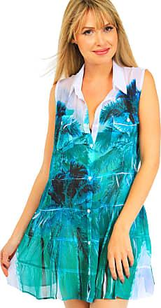 101 Resort Wear Vestido Chemise Evasê 101 Resort Wear Estampado Verde
