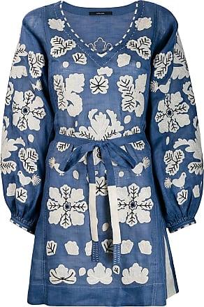 Vita Kin Vestido com bordado floral - Azul