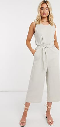 Only culotte jumpsuit with belted waist in stone-Beige