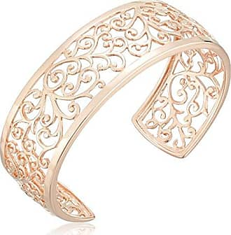 Amazon Collection 14k Rose Gold Plated Sterling Silver Filigree Open Cuff Bracelet, 6.5