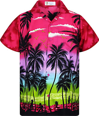 V.H.O. Funky Hawaiian Shirt, Shortsleeve, Beach, Pink, XXL