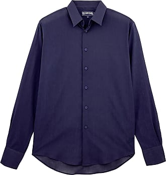 Vilebrequin Mens Cotton Voile Solid Shirt-XL, Navy