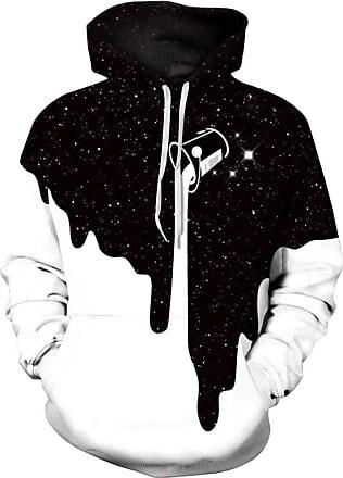 Ocean Plus Mens Hoodie 3D Graphic Hoodie with Kangaroo Pocket Hoody Sweat Hood Sweatshirts (L/XL (Chest: 114-134CM), Milk Cup)