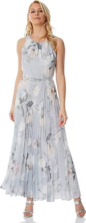 Roman Originals Womens Sleeveless Floral Pleated Maxi Dress - Evening Formal Wedding Guest Bridemaids Party Special Occasion Wear Dresses - Grey - Size 14