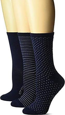 Hot Sox Womens 3 Pack Originals Classics Crew Socks, Dots & Stripes (Navy), Shoe Size: 4-10