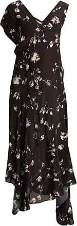 Preen Dana Floral-print Midi Dress - Womens - Black Multi