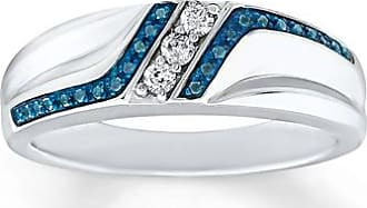 Kay Jewelers Mens Blue/White Diamond Wedding Ring 1/5 ct tw Sterling Silver