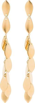 Isabel Marant Par de brincos dourados com detalhe de folha