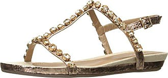 Kenneth Cole Reaction Womens Lost Catch Flat Gladiator Open Toe Sandal with Gemstone Accents-Metallic, Rose Gold, 8 M US