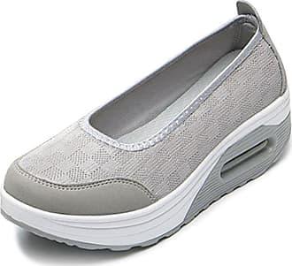 OCHENTA Womens Slip on Shoes Walking Fitness Toning Wedge Trainers Light Grey Tag 37-UK 4.5