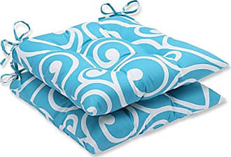 Pillow Perfect Outdoor Best Wrought Iron Seat Cushion, Turquoise, Set of 2