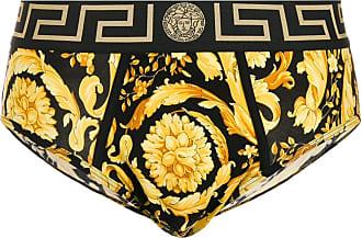 Versace Cueca preta com estampa barroca - Preto