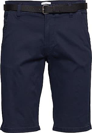 Lindbergh Classic Chino Shorts W. Belt Shorts Chinos Shorts Blå Lindbergh