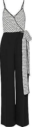 Diane Von Fürstenberg Diane Von Furstenberg Woman Barry Printed Silk And Crepe Wrap Jumpsuit Black Size 00