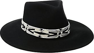 ále by Alessandra Womens Luna Felt Fedora With Hand Embroidered Trim, Black, One Size