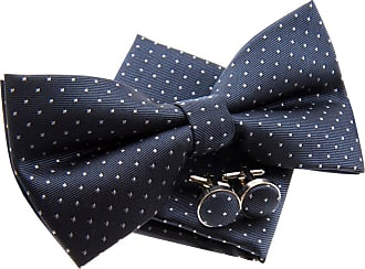 Retreez Pin Dots Woven Microfiber Pre-tied Bow Tie (Width: 5) with matching Pocket Square and Cufflinks, Gift Box Set as a Christmas Gift, Birthday Gift - Gre