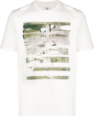 C.P. Company Camiseta com logo e efeito destroyed - Branco