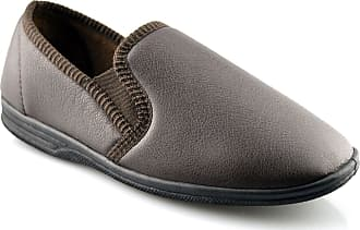Zedzzz Mens New Boxed Slip On Faux Leather Twin Gusset Slippers Shoes Size 6-14 - Brown - UK 14