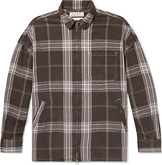 Remi Relief Checked Cotton-twill Zip-up Shirt - Brown