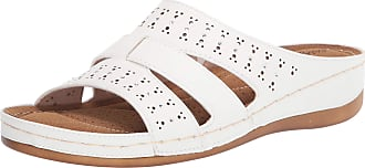 Easy Street Womens Riley Slide Sandal, White, 8.5 X-Wide