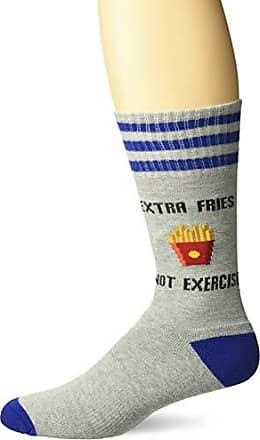 Hot Sox Mens Food and Booze Novelty Casual Crew Socks, Extra Fries, Not Exercise (Grey Heather) Shoe Size: 6-12