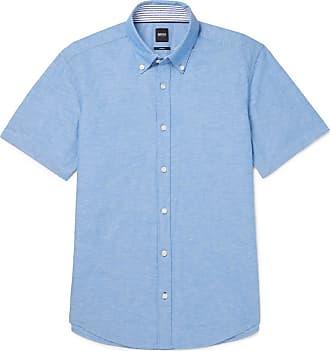 a4f115ff HUGO BOSS Roddy Slim-fit Button-down Collar Cotton And Linen-blend Shirt