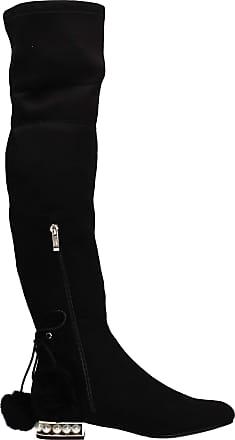 Swankyswans Layla Knee High Womens Pom Pom Bead Detail Tall Winter Boots Black UK Size 3 / EU 36