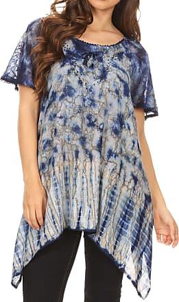 Sakkas 18721 - Elba Womens Short Sleeves Handkerchief Hem Blouse Top Tie-dye with Sequin - Royal Blue - OSP