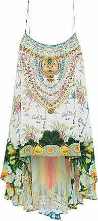 f98e85d0b38 Camilla Camilla Woman Crystal-embellished Printed Silk Top Light Green Size  XS