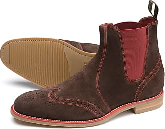 7fbc730d7d69e Loake Mens Hoskins Brogue Leather Suede Chelsea Boots (8 UK, Dark Brown  Suede)