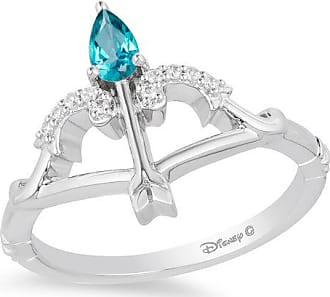Zales Enchanted Disney Merida Pear-Shaped Blue Topaz and 1/20 CT. T.w. Diamond Bow and Arrow Ring in Sterling Silver - Size 7