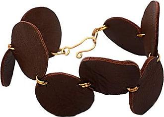 Tinna Jewelry Pulseira Dourada Círculos De Couro (Marrom)