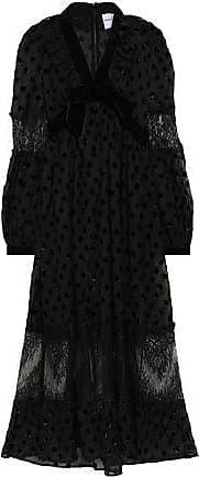 Perseverance London Perseverance Woman Chantilly Lace-paneled Metallic Fil Coupé Chiffon Midi Dress Black Size 12