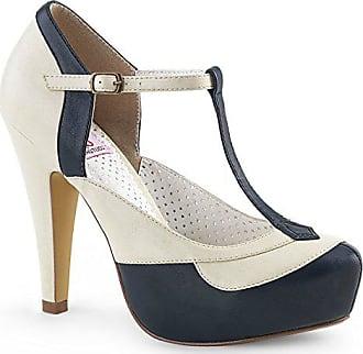dd69ce13b0c7e9 Higher-Heels Pinup Couture Damen T-Riemchen Pumps Bettie-29 navyblue-Creme