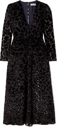 Self Portrait Metallic Flocked Chiffon Midi Dress - Black