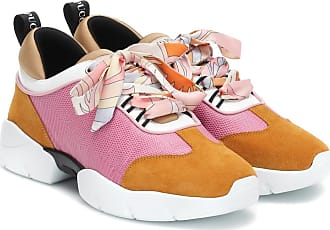 Emilio Pucci Embossed mesh and suede sneakers