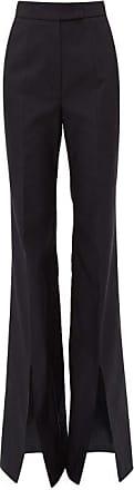 Gabriela Hearst Chavela Flared Slit-cuff Cotton-ottoman Trousers - Womens - Navy