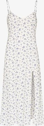 Reformation Womens Blue Gracie Slit Midi Slip Dress