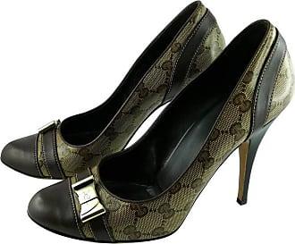 f93b1e53e2e Gucci Gg Monogram Coated Canvas Heels Pumps