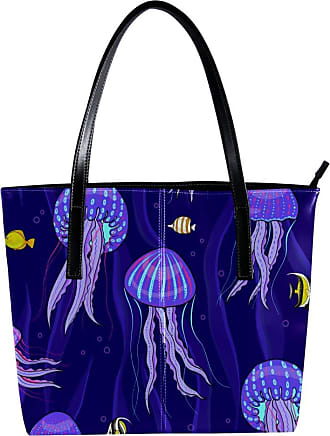 Nananma Womens Bag Shoulder Tote handbag with Purple Sea Jellyfish Print Zipper Purse PU Leather Top-handle Zip Bags