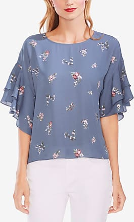 Vince Camuto Womens Blue Floral Jewel Neck Blouse Top Size: M